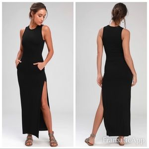 New lulus shield and sword black maxi dress
